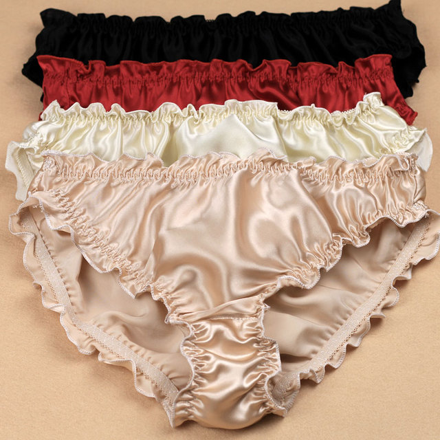 70e43d99a 3pcs lot Quality women s silk panties ruffle crepe satin antibiotic low-waist  trigonometric panties plus size