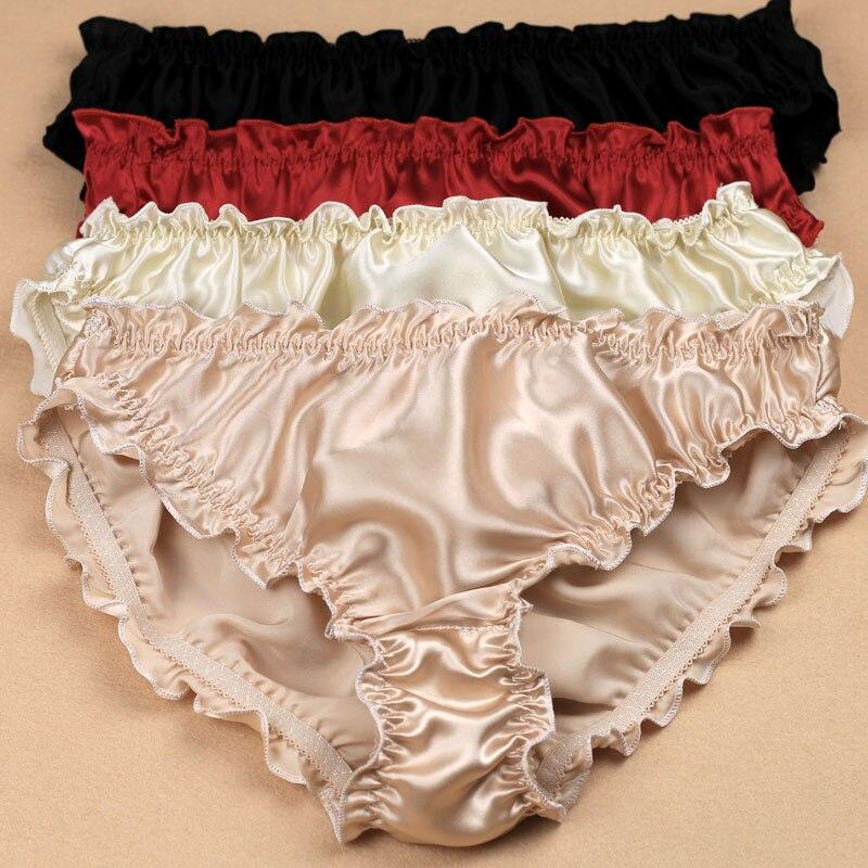 3pcs/lot Quality women's silk panties ruffle crepe satin antibiotic low-waist trigonometric panties plus size
