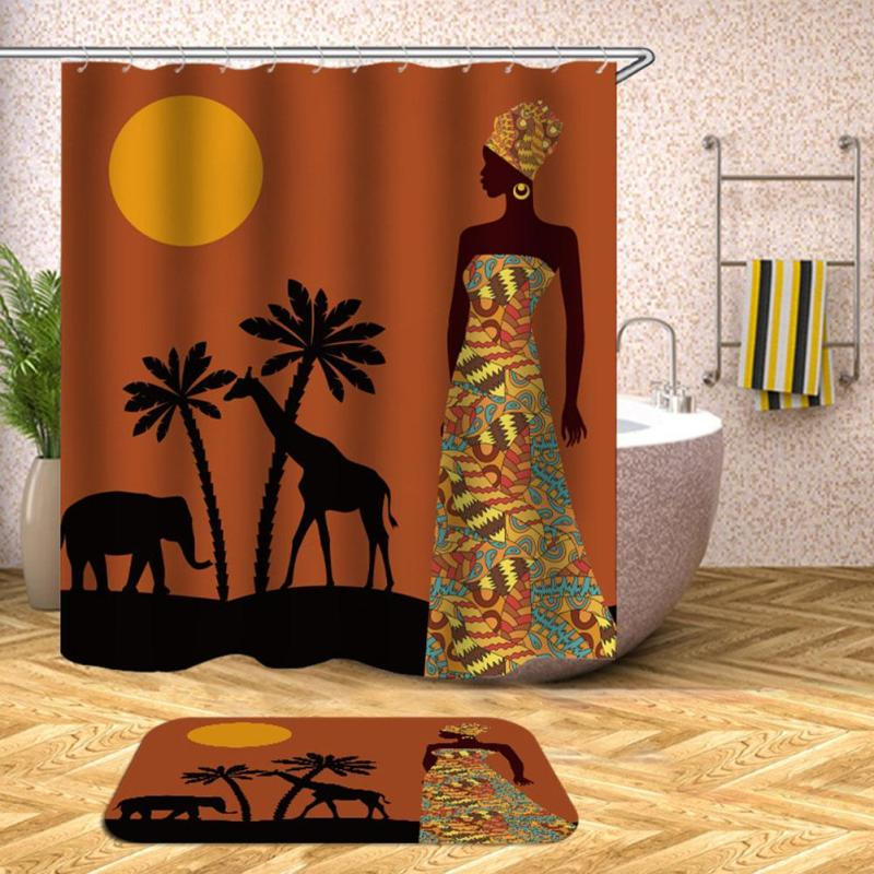 Africa Beauty Women Pattern Shower Curtain With Hanging Hooks Blind For The Bathroom Bath Curtains Fabric L50