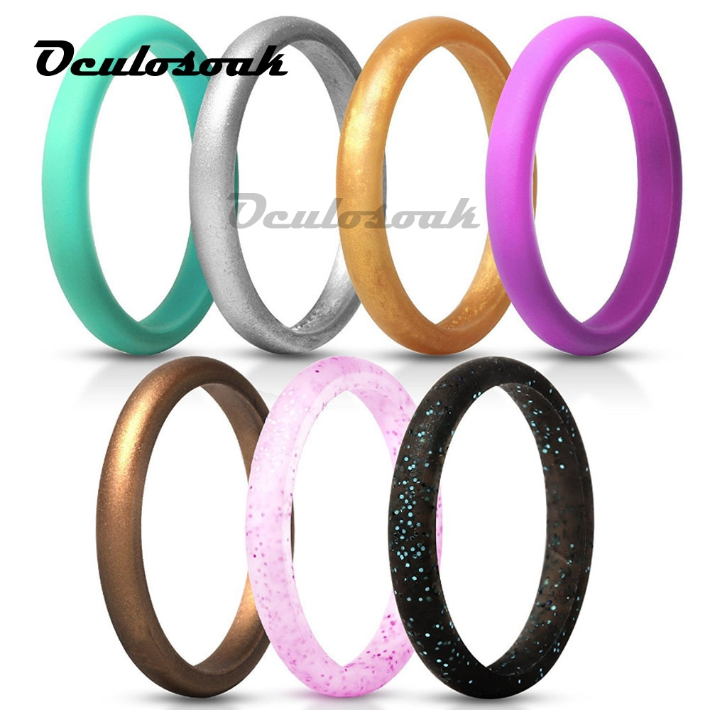 7pcs 4-10 Size Hypoallergenic Crossfit Flexible Glitter Silicone Ring Food Grade FDA Rubber Finger Ring For Women Wedding Rings