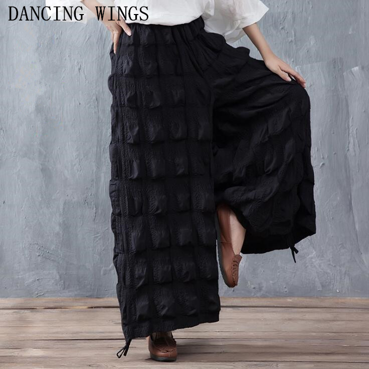 Fashion Large Size Women Pants Summer Loose Casual Cotton Trousers Elastic Waist Pleated Wide Leg Pants Female