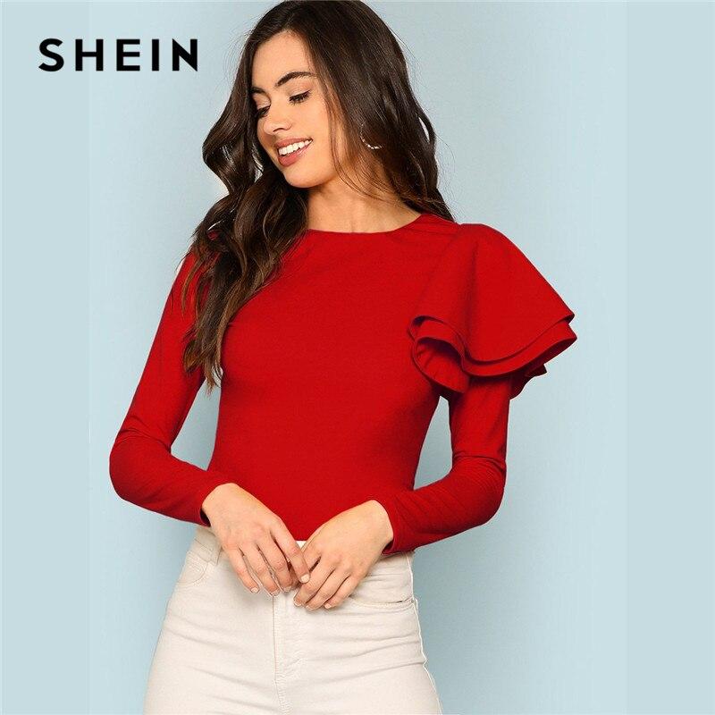 SHEIN Red Modern Lady Weekend Casual Round Neck Zip Back Ruffle One Sleeve Long Sleeve Tee 2018 Autumn Women Tshirt Top