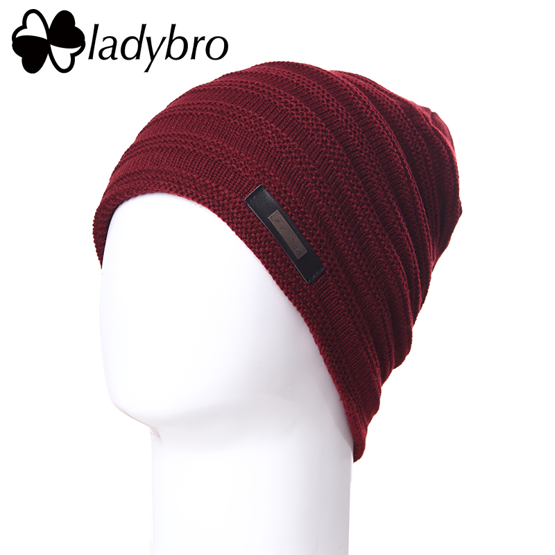 Ladybro Brand Knitted Hat Man Winter Wool Beanie Velvet Skullies Letter Hat Cap Men Beanie Warm Snow Hats For Male Bonnet Casual rwby letter hot sale wool beanie female winter hat men