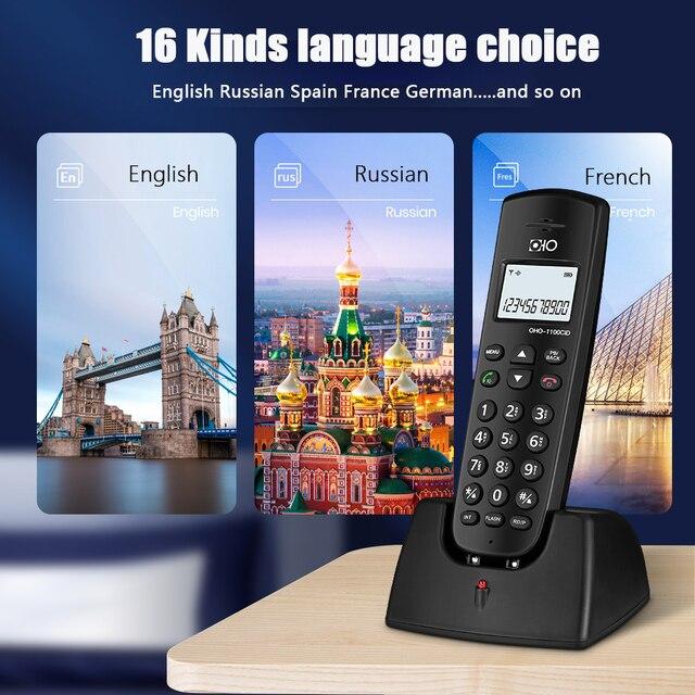 16 языков цифровой беспроводной стационарный телефон с идентификатором вызова громкой связи отключение будильника светодиодный экран бесп...