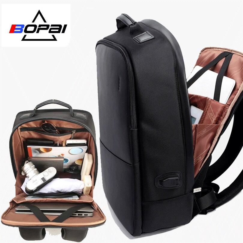 BOPAI العلامة التجارية الرجال حقيبة كمبيوتر محمول USB الخارجية تهمة الكمبيوتر الكتفين مكافحة سرقة على ظهره 15 بوصة حقيبة كمبيوتر محمول مقاوم للماء-في حقائب الظهر من حقائب وأمتعة على  مجموعة 1