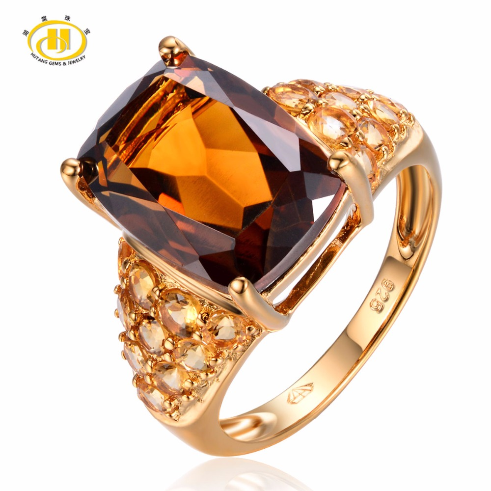 Hutang Solid 925 Sterling Silver 7.47ct Natural Gemstone Smoky Quartz Citrine Wedding Ring Fine Fashion Jewelry For Women's Gift