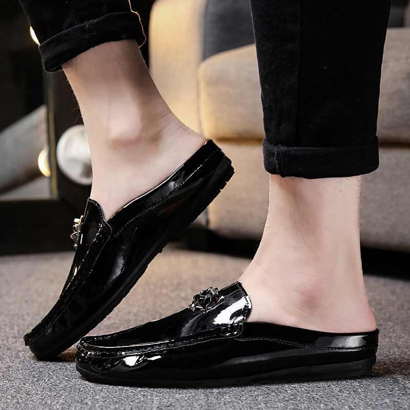 Erkek spor ayakkabı yaz parlak Patent hakiki deri yarım sürükle Erkek ayakkabısı loafer'lar Erkek mokasen Tenis Masculino Erkek Ayakkabi