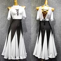 Rave Summer New Ballroom Dresses Women Black and White Collision Fishbone Dress Waltz Dress Modern Ballroom Dance Dresses VDB609