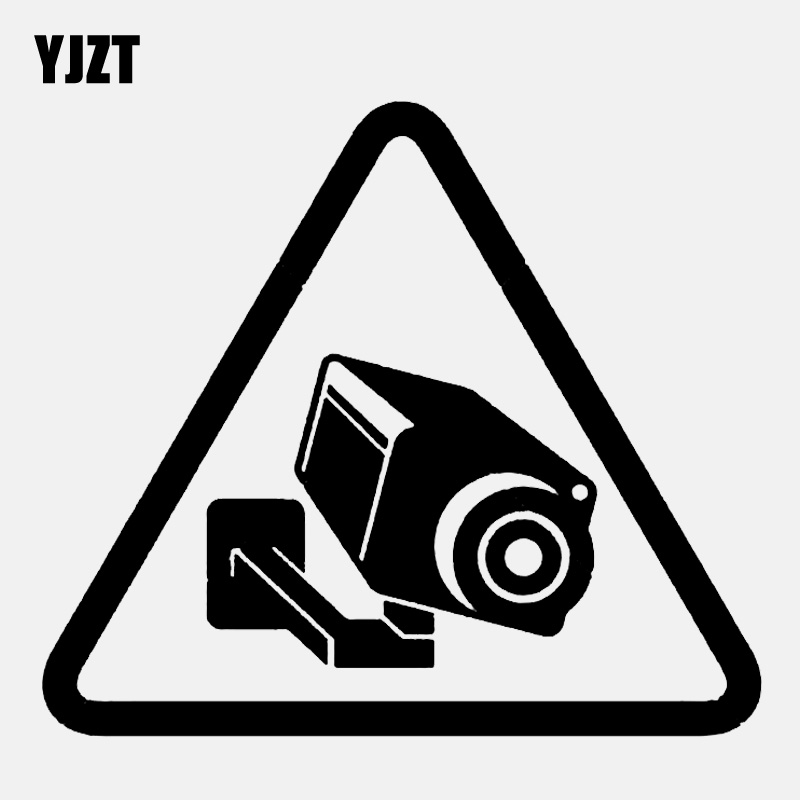 YJZT 14.2CM*12.5CM Camera Cctv Video Surveillance Sign Vinyl Black/Silver Car Sticker C22-0885 image