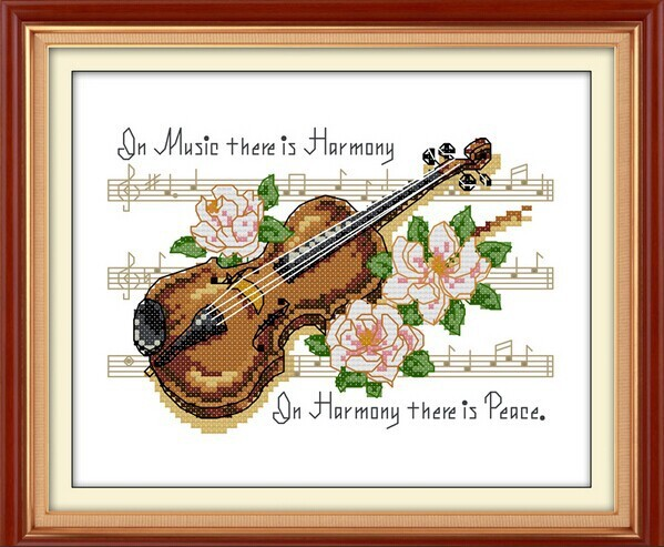 Violin Music Pattern Cotton Canvas DMC Cross Stitch Kits Accurate Printed Embroidery DIY Handmade Needle work Wall Home Decor