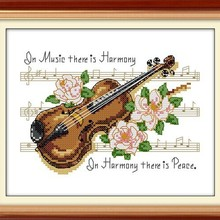 Violin Music Pattern Cotton Canvas DMC Cross Stitch Kits Acc