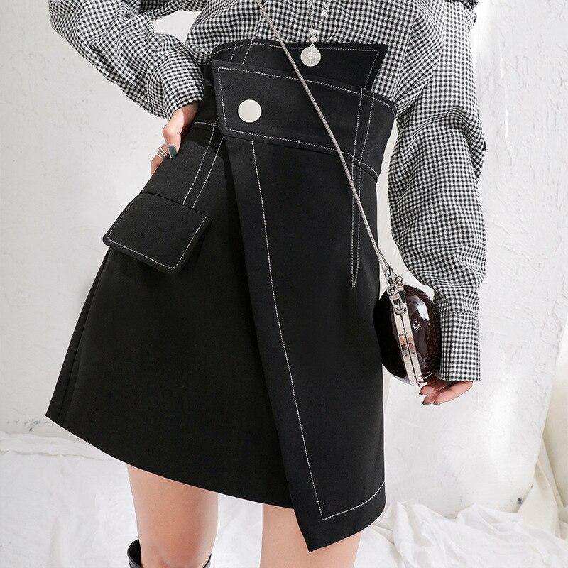 LANMREM 2020 Spring Fashion New Irregular High Waist Mini Skirt All-match Female's Fake Pockets Bottoms Spring YF44801