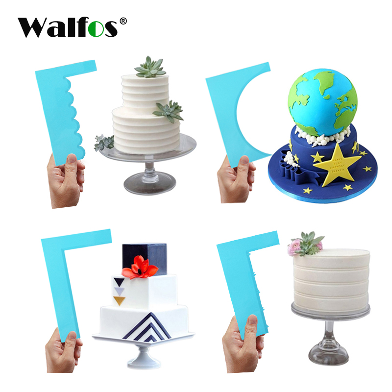 WALFOS cake scraper smoother Fondant Mousse Cream Spatula Edge Smoother Kitchen Cake Pastry Mold Baking Decorating Tools