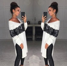 2018 New Hot Retro Fashion Women V Neck Loose Long Sleeve Oversize Sweater Jumper Lace Shirt Asymmetric Pullover Tops Plus Size lace up slit asymmetric sweater