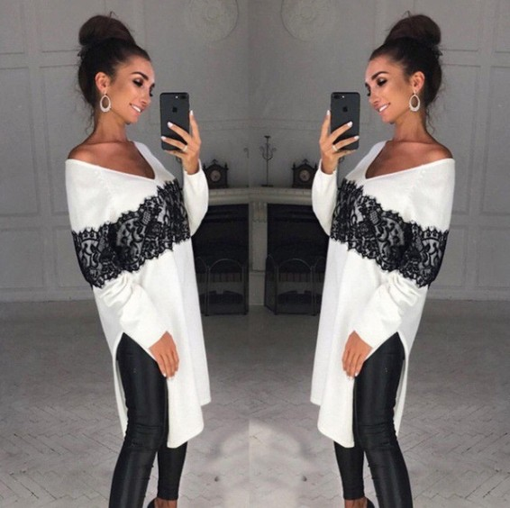 2018 New Hot Retro Fashion Women V Neck Loose Long Sleeve Oversize Sweater Jumper Lace Shirt Asymmetric Pullover Tops Plus Size