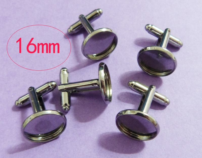 WER-225#  30 Pieces GUNMETAL Color French Cuff Links With 16mm Round Flat Blank