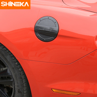 SHINEKA Car Styling Carbon Fibre Style Gas Tank Cap Fuel Tank Cover ABS for Ford Mustang 2015+