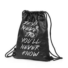 Wholesale Drawstring Bag Neutral Letter kraftpaper Satchel Rucksack Bundle Pocket Drawstring Storage Bag mochila