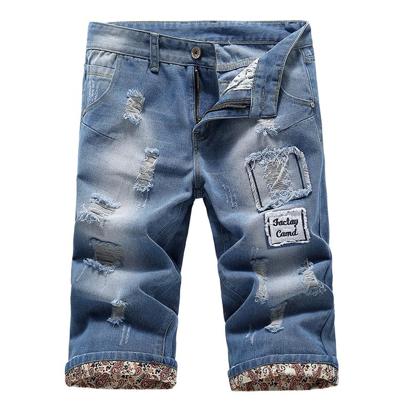 Men s hole cotton light blue denim shorts Men short jeans male thin comfortable short jeans