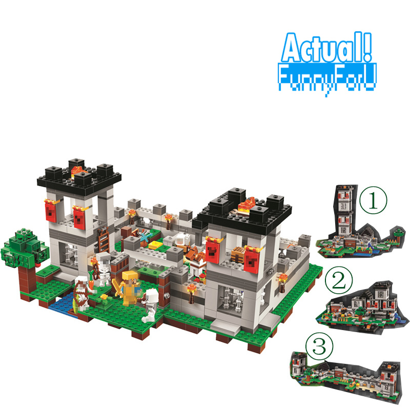 My world Minecraft 4in1 Sandbox Fortress Castle Building Block Bricks 990pcs mini Toys figures For Kids skeleton legoings 21127 часы mini world mn1012a