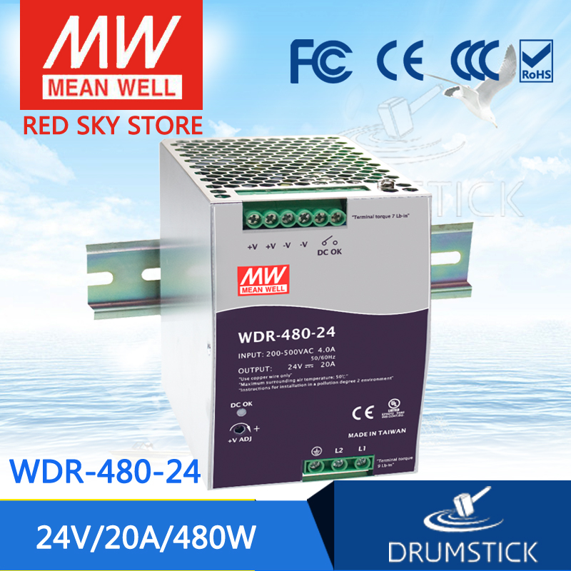 цена на Best-selling MEAN WELL WDR-480-24 24V 20A meanwell WDR-480 24V 480W Single Output Industrial DIN RAIL Power Supply