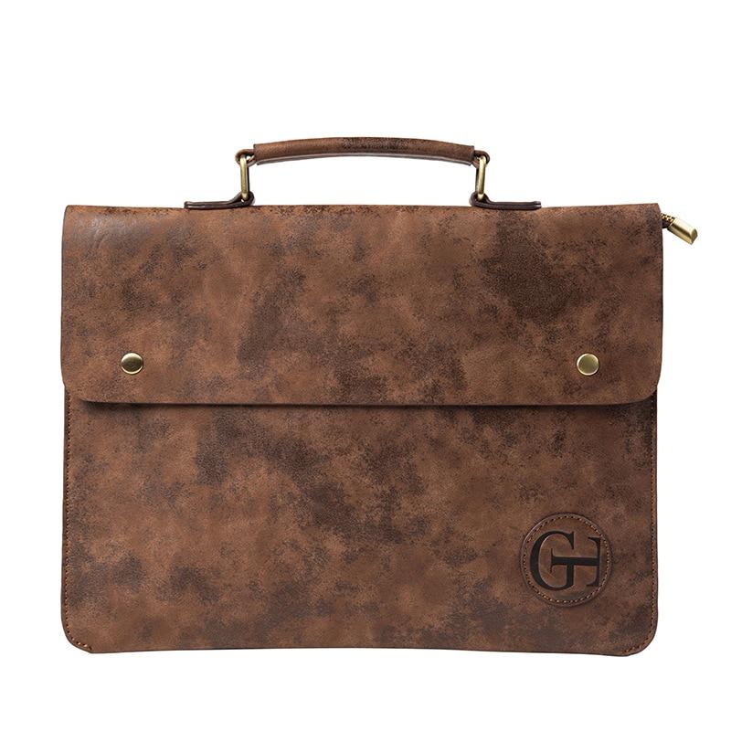 Bolso Vintage de cuero de PU para hombre, bolso de ocio para hombre, bolso de mensajero de negocios, maletín portátil, paquete de ordenador portátil, bolsos delgados para hombre