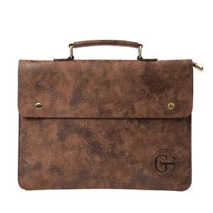Image 1 - Vintage PU Leather Men Handbag Leisure Mens Bag Business Messenger Bags Portable Briefcase Laptop Package Slim Handbags Male