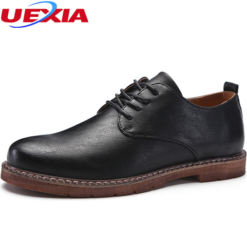 UEXIA Fashion Men Shoes Casual Leather Comfortable Breathable Spring Autumn High Quality Formal Leisure Fashion Business Office uexia leather casual shoes men fashion wedding retro oxfords breathable black high top lace up high quality flats male moccasins