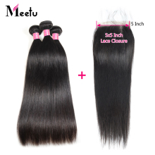 Meetu Indian Straight Hair Bundles with Closure 5x5 inch Non Remy Human Hair Bundles with Closure 3 Bundles with Lace Closure