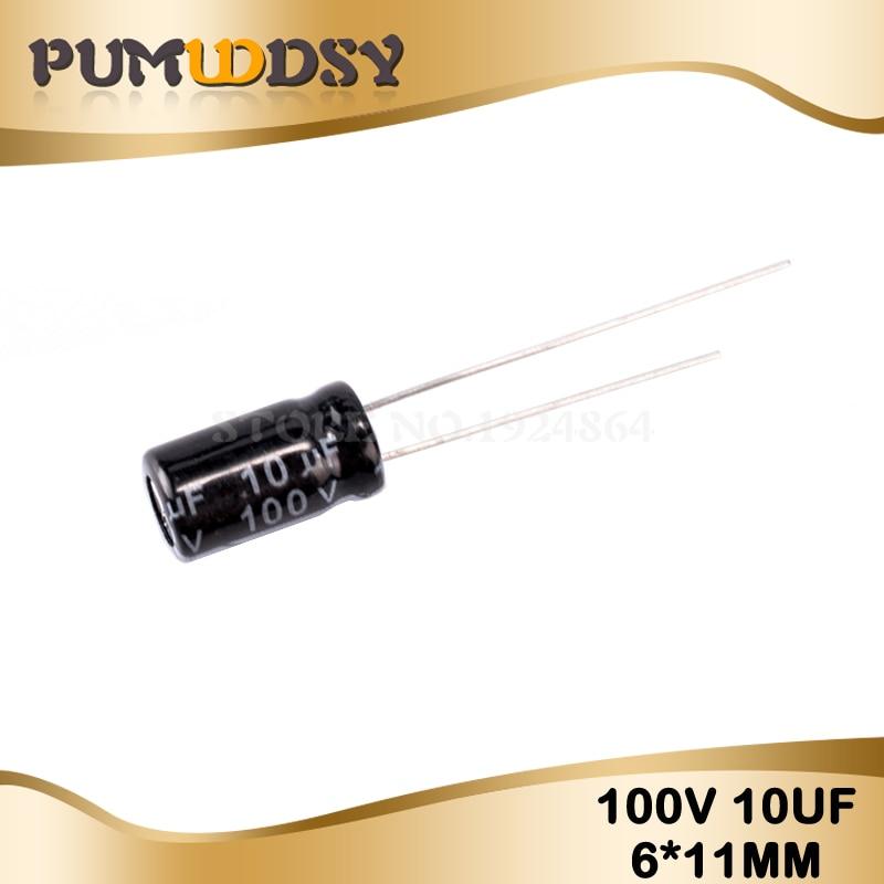 50PCS Higt Quality 100V10UF 6X11mm 6.3*11 10UF 100V Electrolytic Capacitor