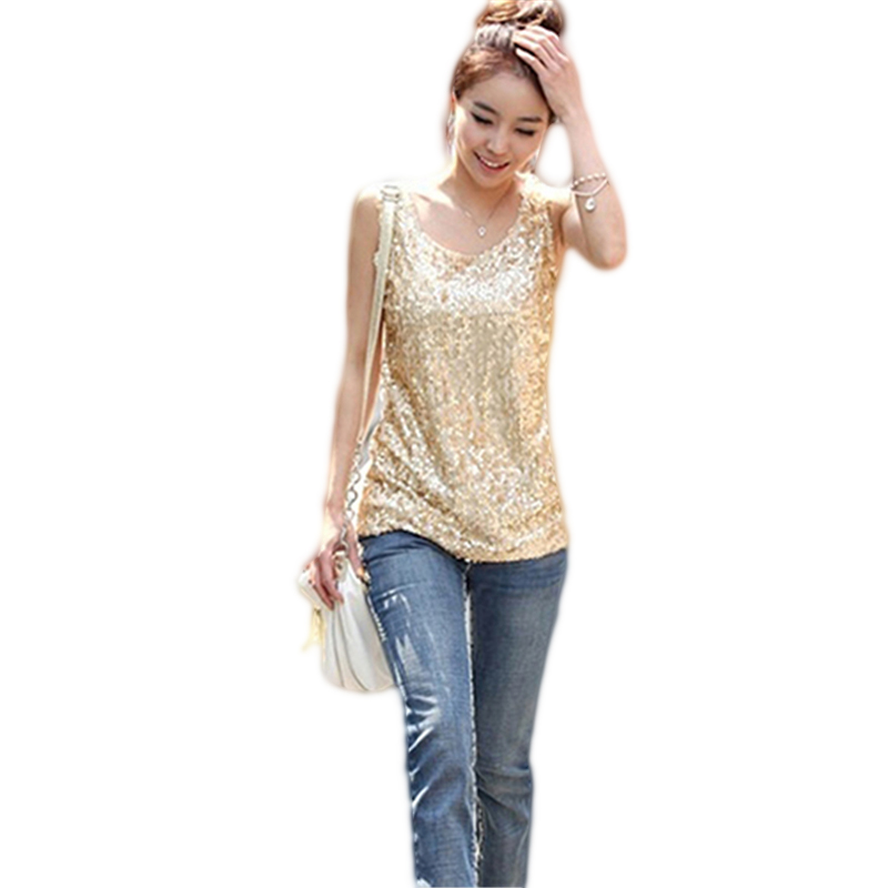 Women's Fashion Round Neck Bling Sequin   Tank     Top   Slim Fit Sleeveless Summer Vest