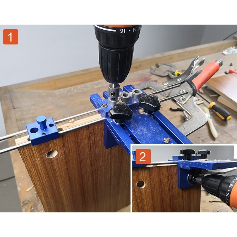 3 w 1 lokalizator wiercenia 08450 zestaw przewodnik wiercenia narzędzie do drewna DIY stolarka do obróbki drewna High Precision Dowel Jigs kit