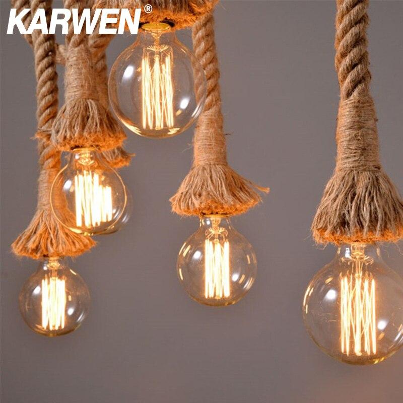Vintage chanvre corde pendentif support de lumière E27 1M 1.5M 2M 2.5M 3M AC85-265V Loft personnalité industrielle suspension lampe Edison