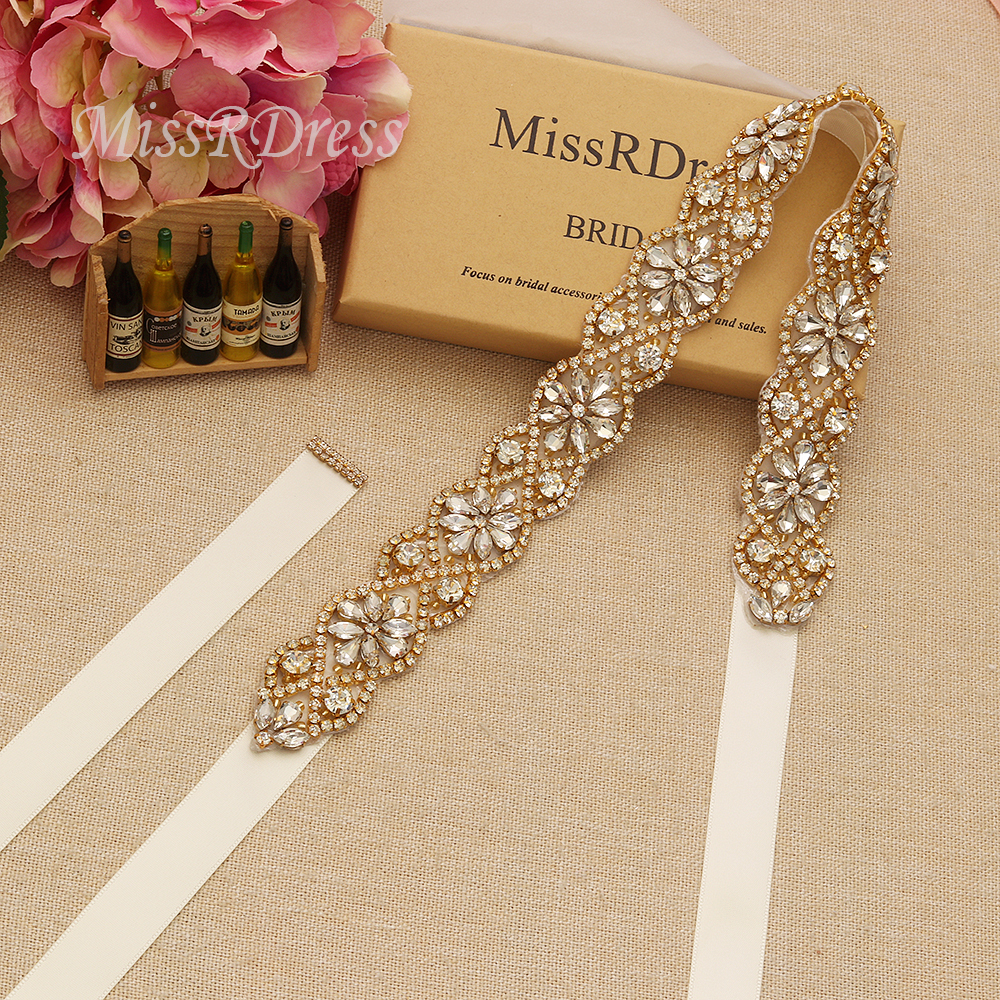 MissRDress Gold Crystal Wedding Belt Simple Rhinestones Bridal Belt Hand Beaded Bridal Sash For Wedding Prom Dresses JK818