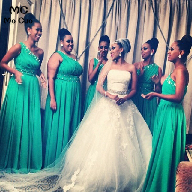 2018 Green Bridesmaid gown Chiffon Beaded One Shoulder vestido longo de festa Wedding party Long Bridesmaid Dresses for women
