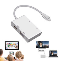 USB 3.1 Type C to VGA HDMI and USB3.0 OTG Adapter Video Converter for Macbook PC to TV Projector