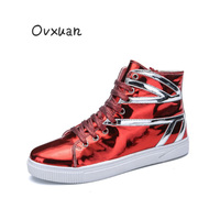 OVXUAN British Flag Stripe Hip Hop Sneakers Shoes Men Flats Bright Patent Leather Casual Loafers Fashion Party Shoes for men