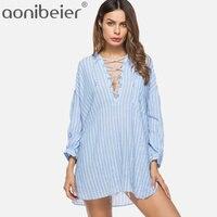 Aonibeier Striped Women Blouses Drop Shoulder Shirts 2018 Summer Sexy CrissCross Deep V Loose Blouses Stepped