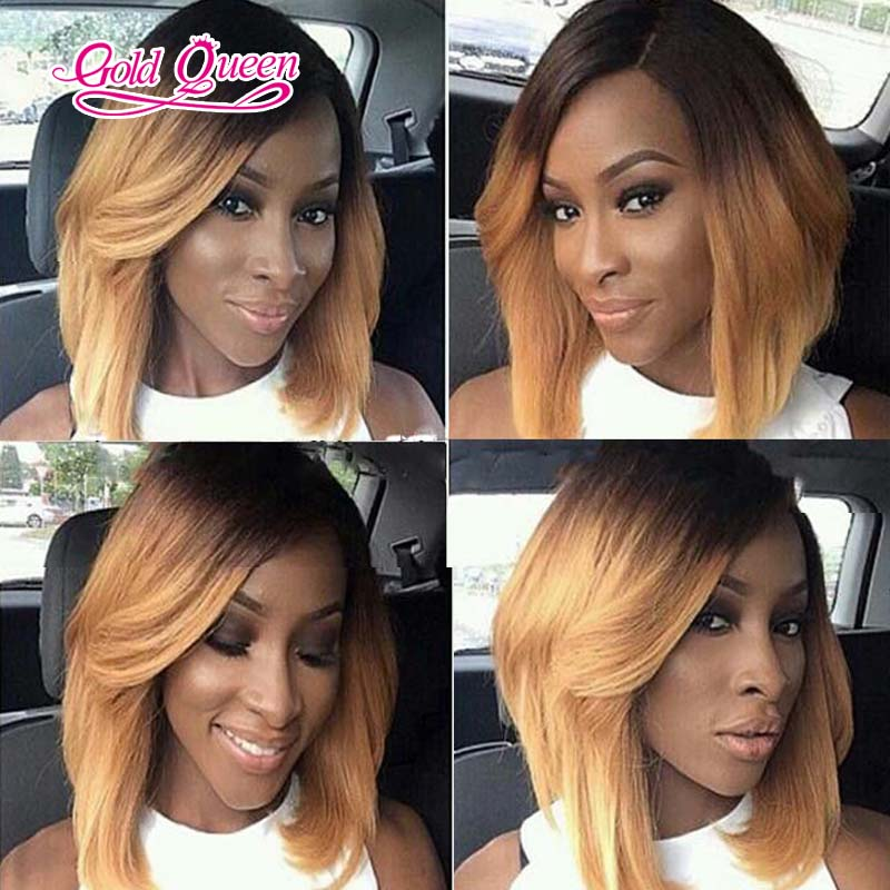 Beautybyjj 4x4 Silk Top Full Lace Wigs Lace Front Wig Ombre Bob Wigs