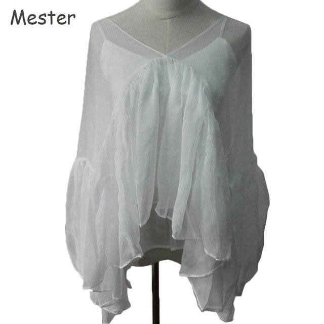 Women Lantern Sleeve Ruffled 100 Silk Blouse Sheer See Through Two Pieces Set Runway Fashion Loose Irregular Runway Shirt Tops