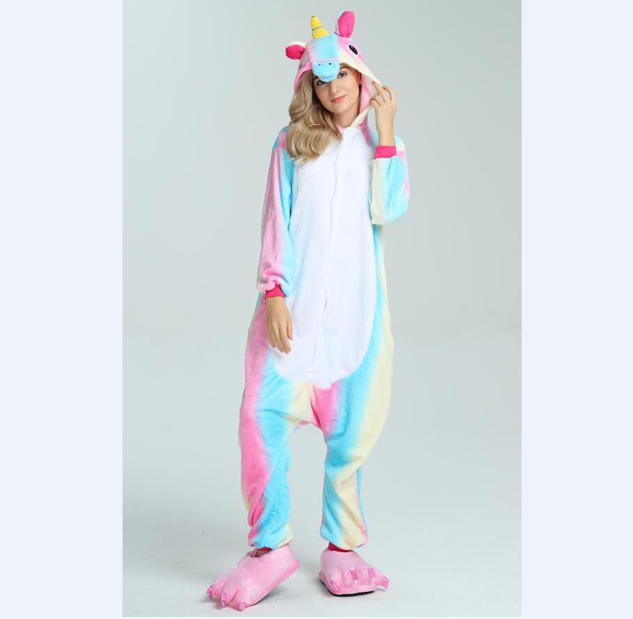 c5901d1c3843 2018 HOT SELL NEW Wholesale Rainbow Unicorn Onesie Adult Unisex Cosplay  Costume Pajamas Sleepwear For Men Women Cheap ON SALE