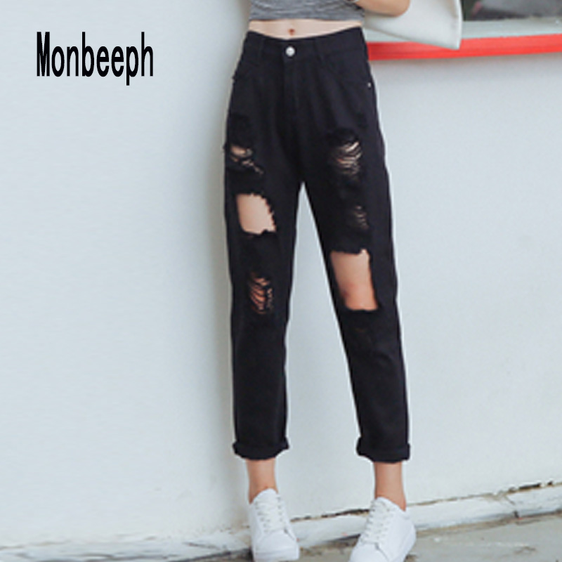 Monbeeph Boyfriend Jeans Harem-Pants Trousers Hole Ankle-Length Loose Casual Womens Ripped
