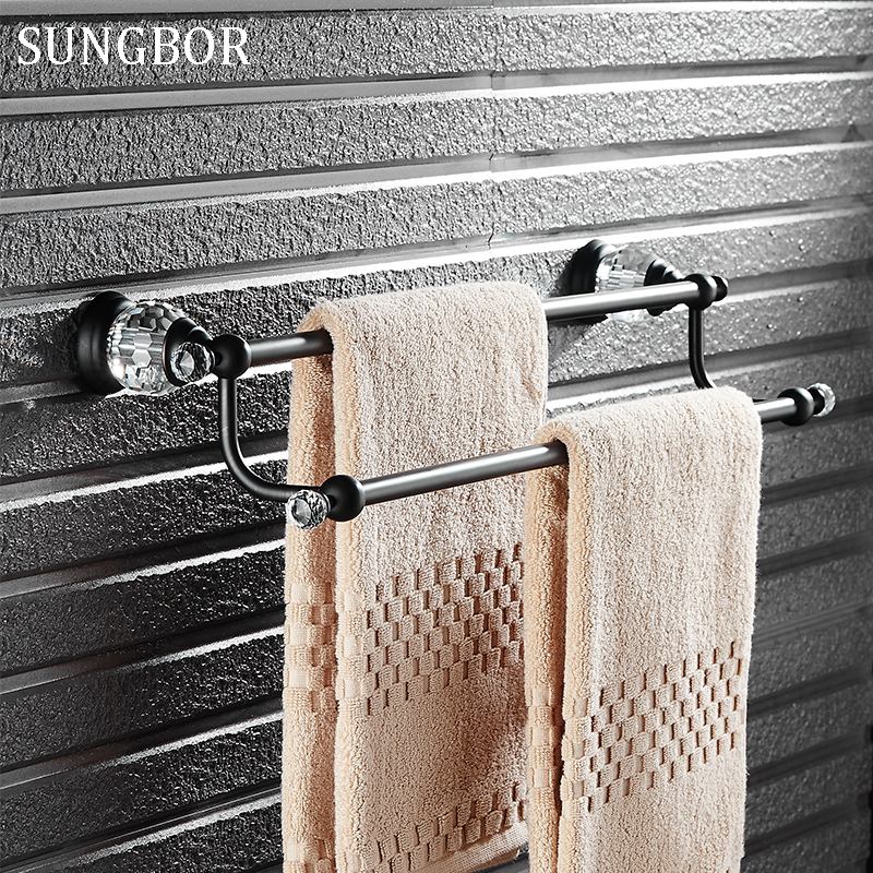 Black Crystal Double Towel Bar Towel Holder Copper Black Towel Rail Blackend Finished Bath Hotel Products Bathroom Accessories batroom golden crystal double cup holder bathroom double cup rack holder hardware bath sets bathroom accessories