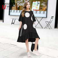 2017 Korean Style Summer Women Dotted Printed Dress O Neck Black White Half Sleeve Large Size