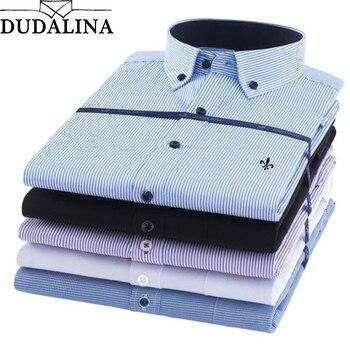 e78aeec99ff4b62 Dudalina, Заводская распродажа, высокое качество, осень 2019, большие  размеры, мужские рубашки в полоску с длинными рукавами, 5xl, модные мужские  топ.