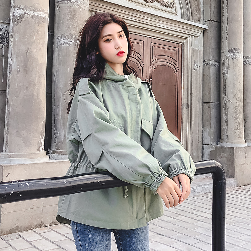 FTLZZ New Loose Trench Coat Spring Autumn Women's Hooded Black Green Windbreaker Outerwear Female Casual Trench Coat 8