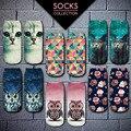 2016 Новый Meias Summer Осень Harajuku Сова Носки 3D Печати Животных женщин Low Cut Носки Cat Печатных Носки