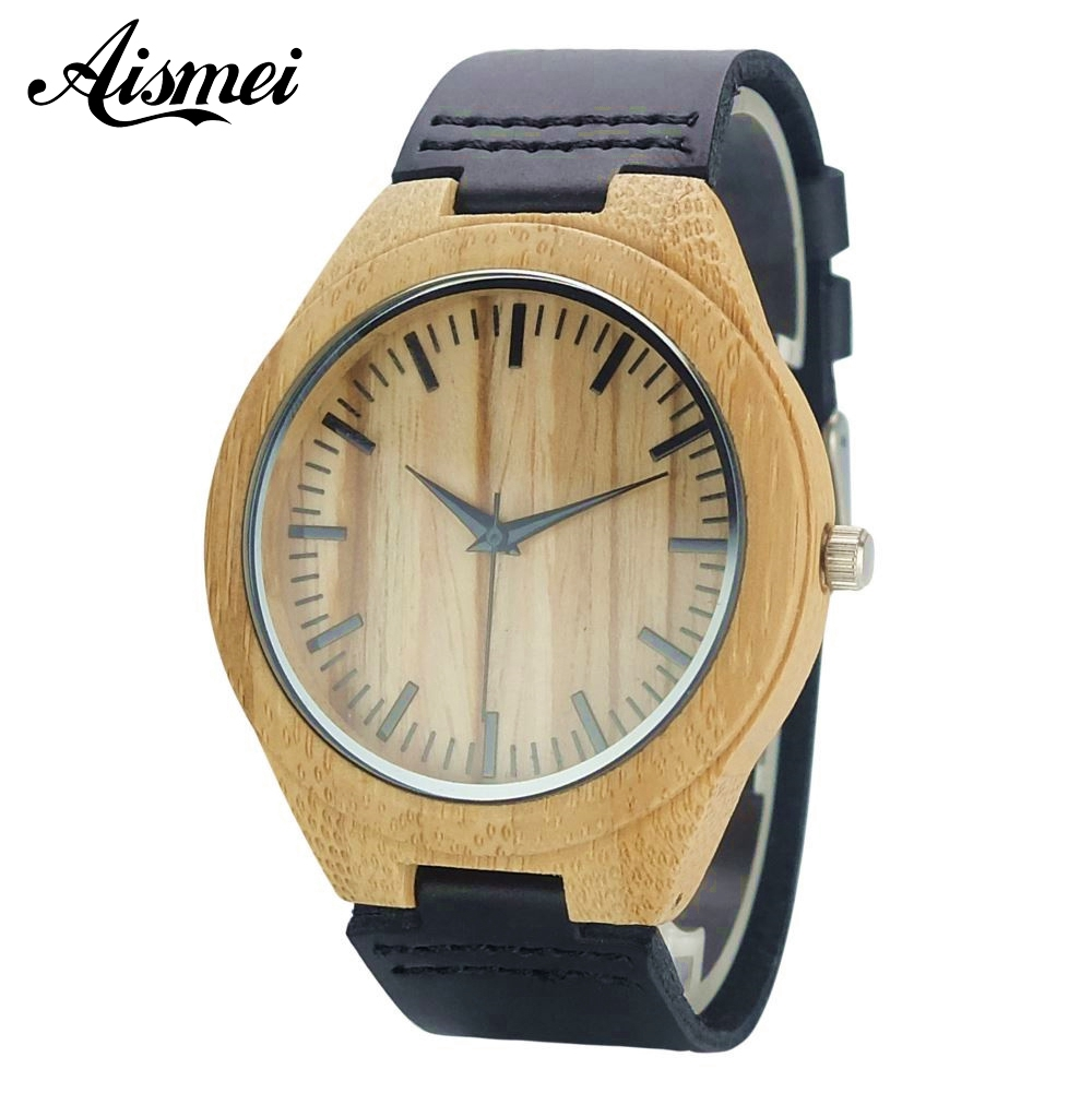 Fashion Top Gift Item Wood Watches Women Men Analog Simple Bmaboo Hand-made Wrist Watch Male Sports Quartz Watch Reloj de madera new world map mens genuine leather quartz watch wood bamboo male wrist watch luxury brand reloj de madera genuine with gift box