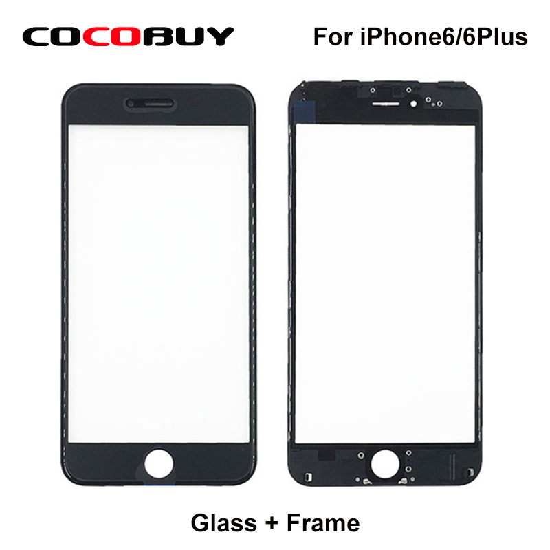 50 Pcs/Lot A Quality 2 in 1 Front Screen Touch Panel Glass with Frame for iPhone 5/5c/5s/6/6p replacement lcd front outer screen glass lens with tools kit for apple iphone 6 plus 5 5 inch