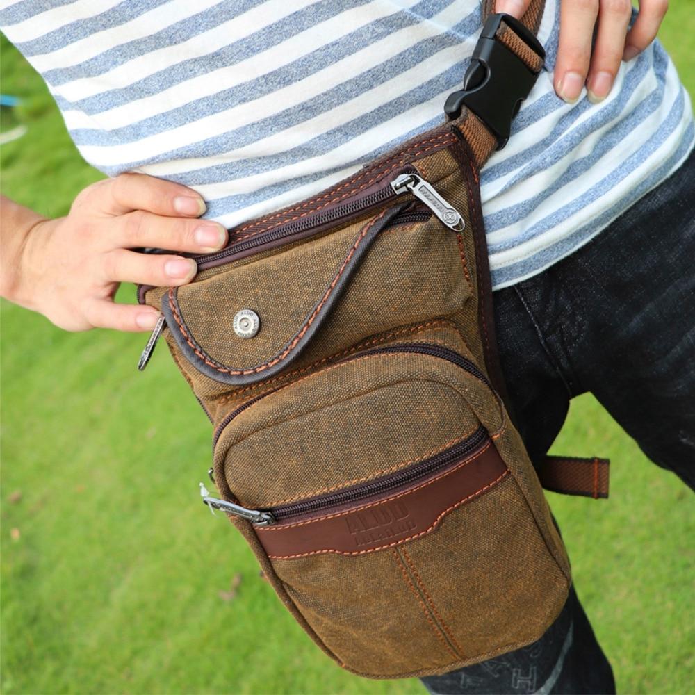 High Quality Canvas/Nylon Men Hip Bum Belt Fanny Pack Motorcycle Rider Multi-purpose Travel Messenger Shoulder Waist Leg Bags